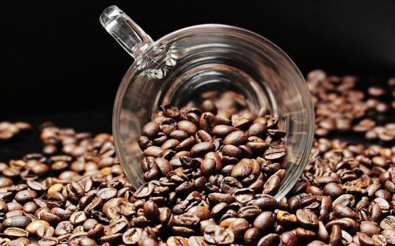 コーヒーカップとコーヒー豆